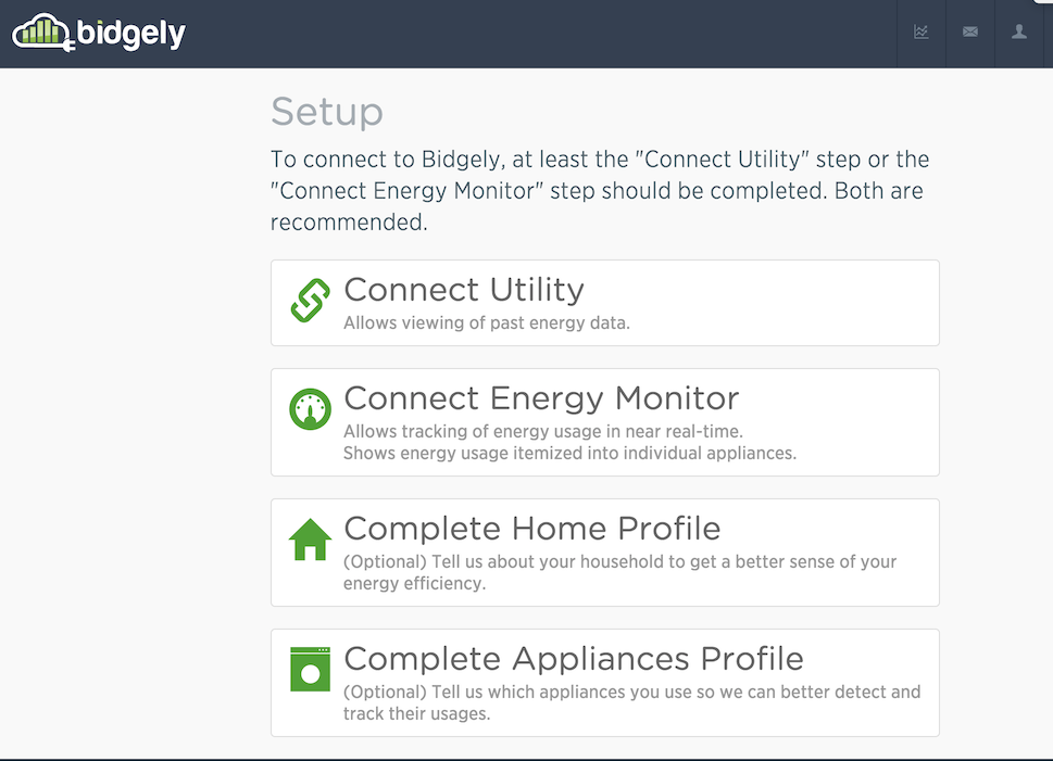 Bidgely energy monitoring config settings form
