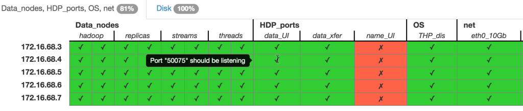 Table showing report from serverspec output