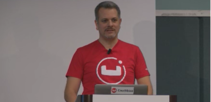 Photo of Tyler Mitchell speaking at Couchbase Connect 2016 event